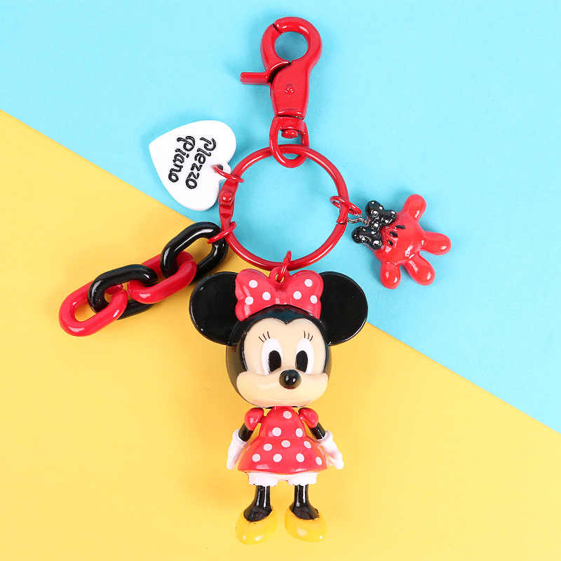 2019 Mickey การ์ตูน PVC Key Chain มินิรูป Minnie กุญแจแหวนของเล่นเด็กจี้พวงกุญแจแฟชั่น Charms trinket