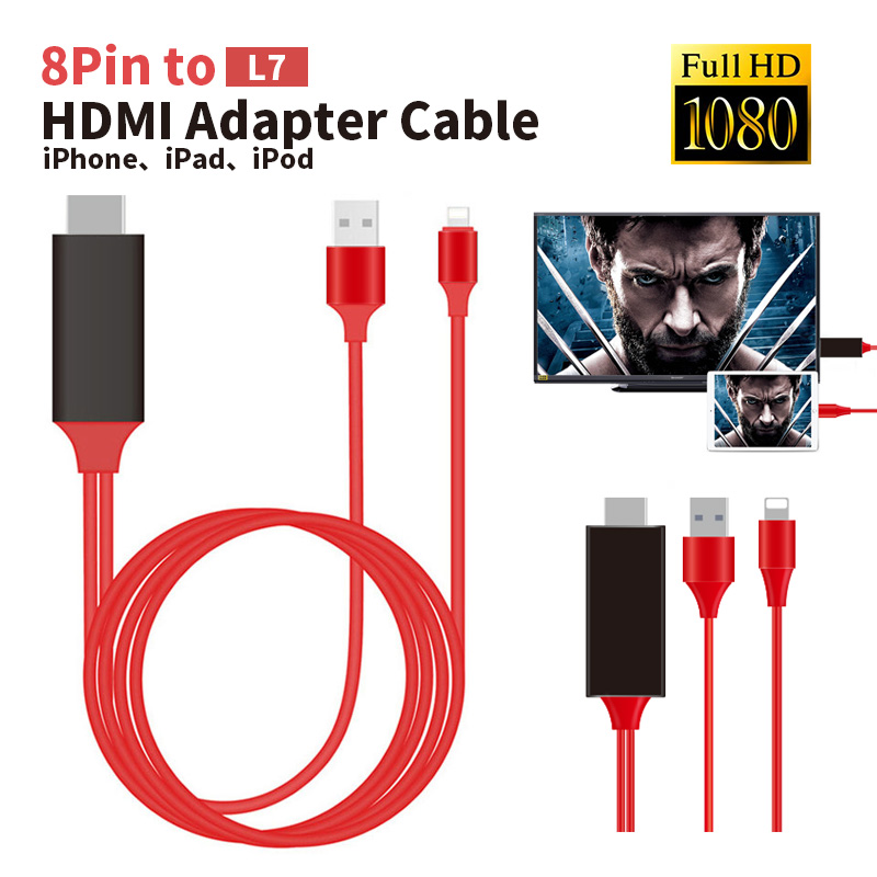 HDMI 2M Cable For Apple iPhone 7 7 Plus 6 6s 5 5s 5S 5C For Lighting Cable Adapter HDTV TV <font><b>8</b></font> Pin HD1080P Adapter HDMI Connector