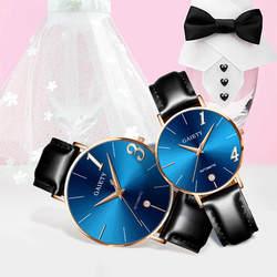 Пара Часы любовника память подарок Часы модные Повседневное часы кожаный ремешок линии Аналоговые Кварцевые женские наручные Часы подарок
