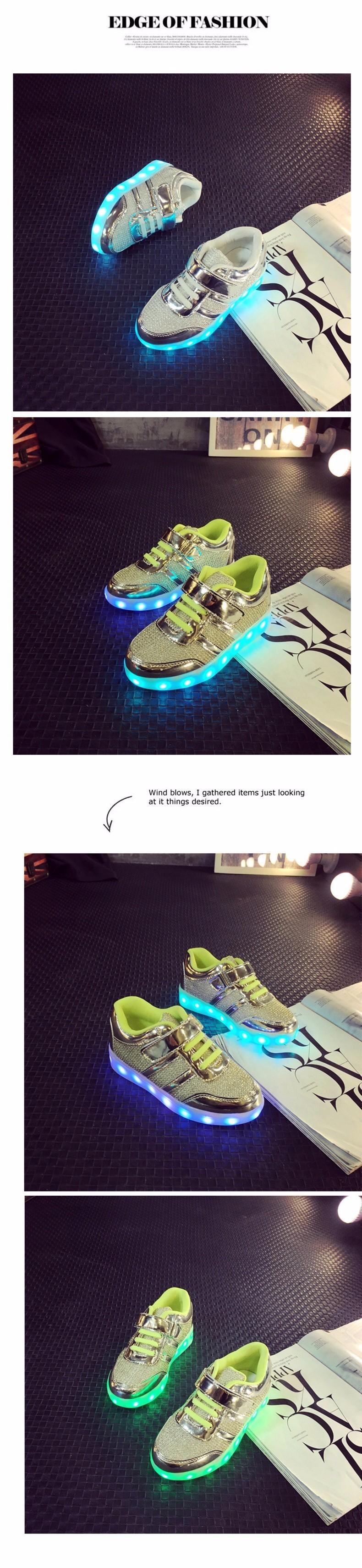 Kid USB Charging LED Light Shoes Soft Net Casual Boy Girl Luminous Sneakers Antiskid Bottom Children Shoes Tenis Led Infantil (3)