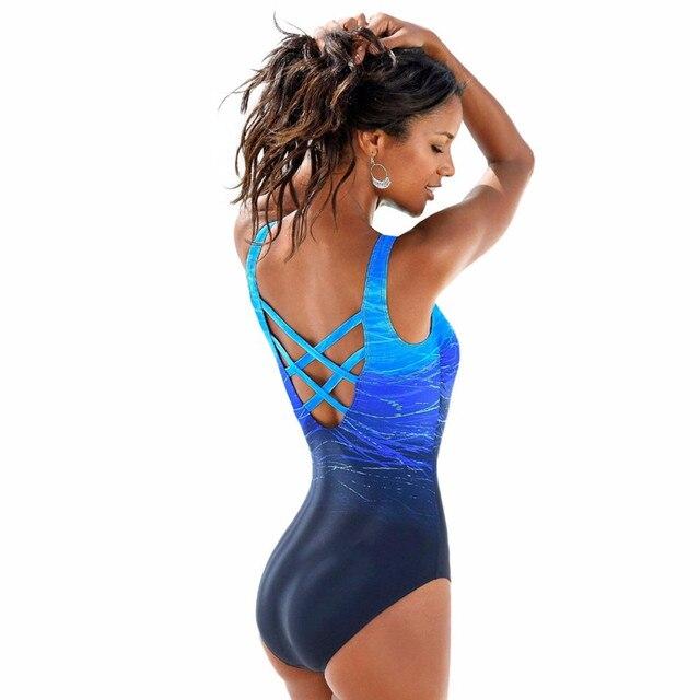535e6f16cfd Yomay One Piece Swimsuit Women Vintage Gradient Swimwear Criss Cross Back  Monokini Bath Suit Beach Wear Maillot De Bain