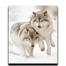 Diamond Painting Two Wolves Nested in Snow Diy Embroidered 3D Square Mosaic Cover Complete Decorative Paintings
