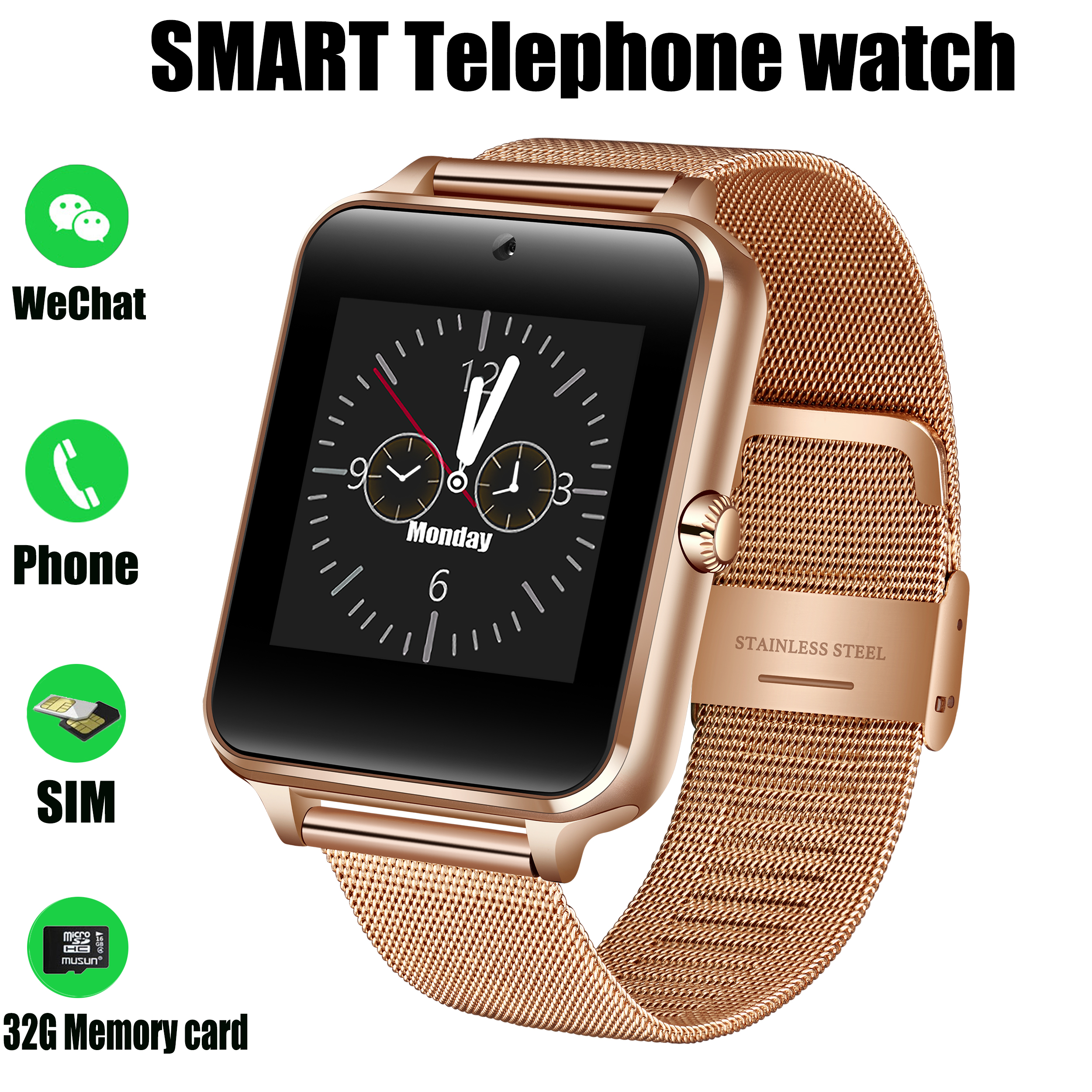 Men Smart Watch Bluetooth Sport Waterproof Activity Tracker SmartWatch Support SIM TF Cassette Camera For Android Smartphone+Box