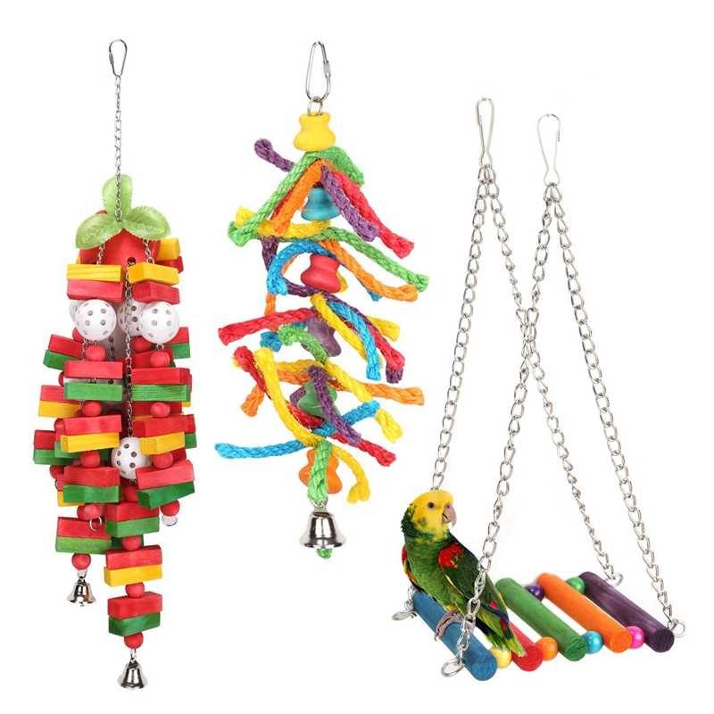 3 Pack Bird Parrot Toys Set Hanging Bell Pet Bird Cage Hammock Swing Toy Hanging Toy For Small Parakeets Cockatiels, Conures,
