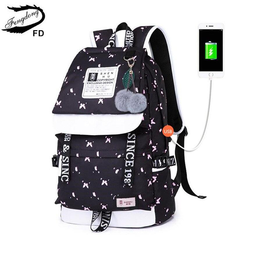 Fengdong meninas escola mochila moda menina estilo coreano feminino preto viagem portátil mochila bonito bola de pelúcia crianças saco