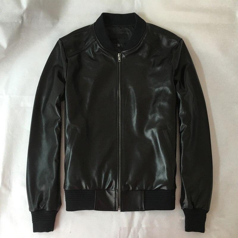 New arrivel Men's real sheepskin leather bomber jackets Chic genuine leather jackets coat men baseball coat S 6XL SIZE D989