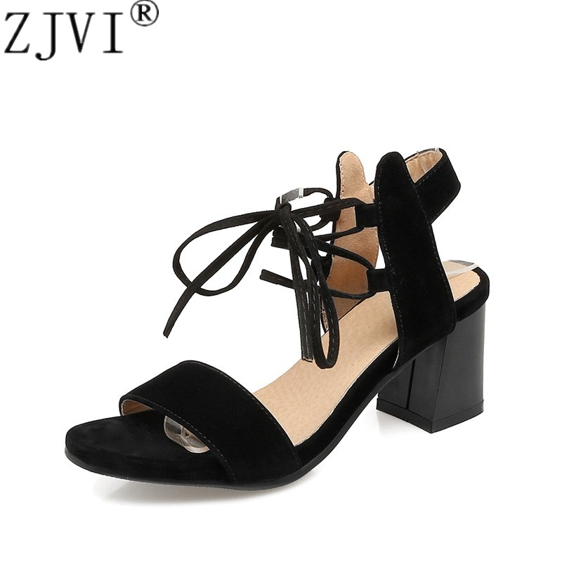 ZJVI woman fashion square high heels sandals women new summer cross tied shoes 2018 womens female sexy suede nubuck party sandal new fashion 2017 army green sandales talon femme lace up high heels party shoes women cross tied strappy gladiator sandals women