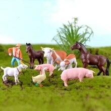 Farm Miniature Pastoral Styles Plastic Animal Ornaments Farmer Horse Cow Duck Pig Fairy Garden Decor Terrarium Figurines