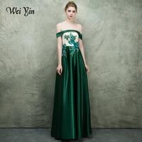 WEIYIN Off Shoulder Crystal Taffeta Evening Dresses 2018 Custom Size Wedding Party Dress Straight Formal Dress Wedding Gown