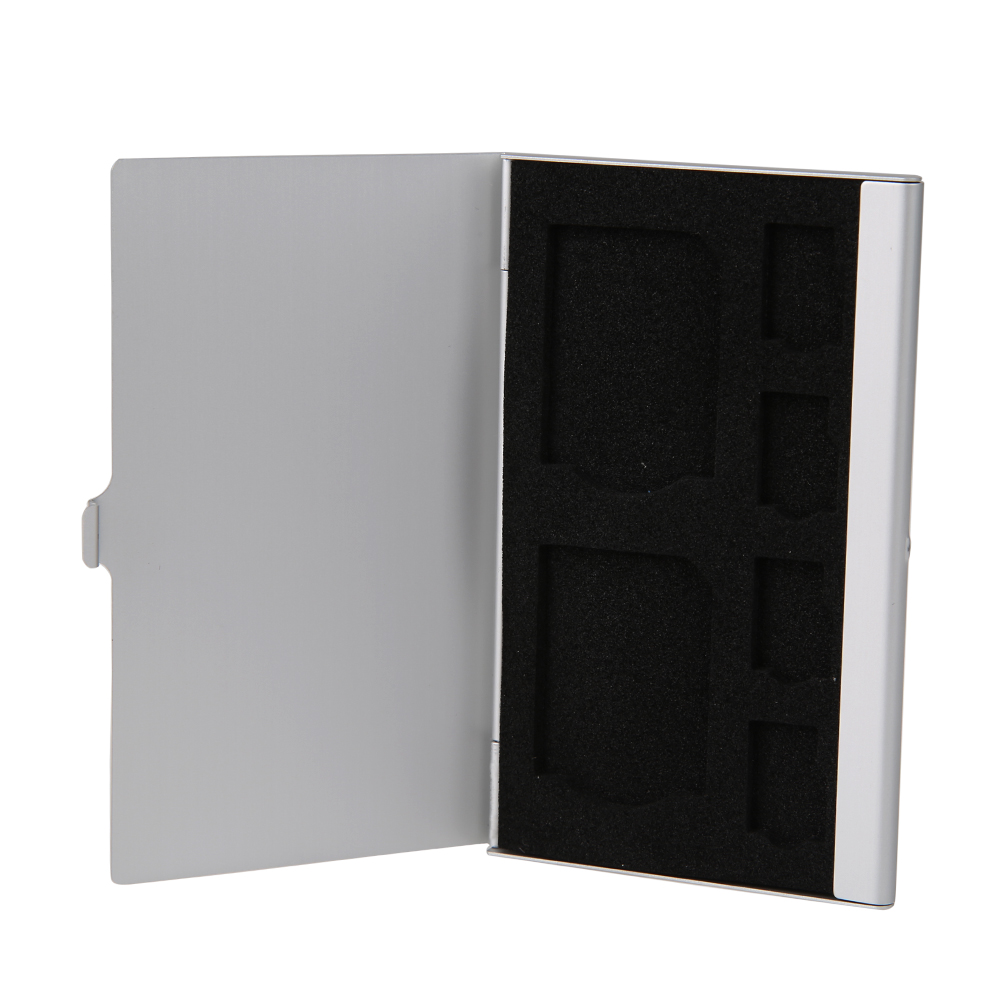 Silver Portable Aluminum Anti-static EVA 2 SD + 4 TF Micro SD Cards Pin Memory Storage Box Case Holder Protector