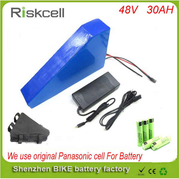 Free customs taxes 48V 30AH lithium ion battery use Panasonic cells and harger 48V 1000W triangle electric bike battery free customs taxes powerful 48v 1000w electric bike battery pack li ion 48v 34ah batteries for electric scooter for lg cell