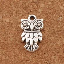 Owl Bird Spacer Charm Beads 42pcs Antique Silver Pendants Alloy Handmade Jewelry DIY L991 11x19.5mm