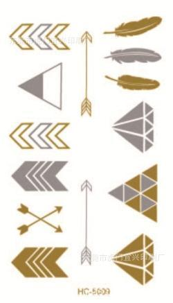 golden tatto body art metallic temporary tattoo jewelry bracelet flash tattoo arrow diamond feather gold tatoo VH0209