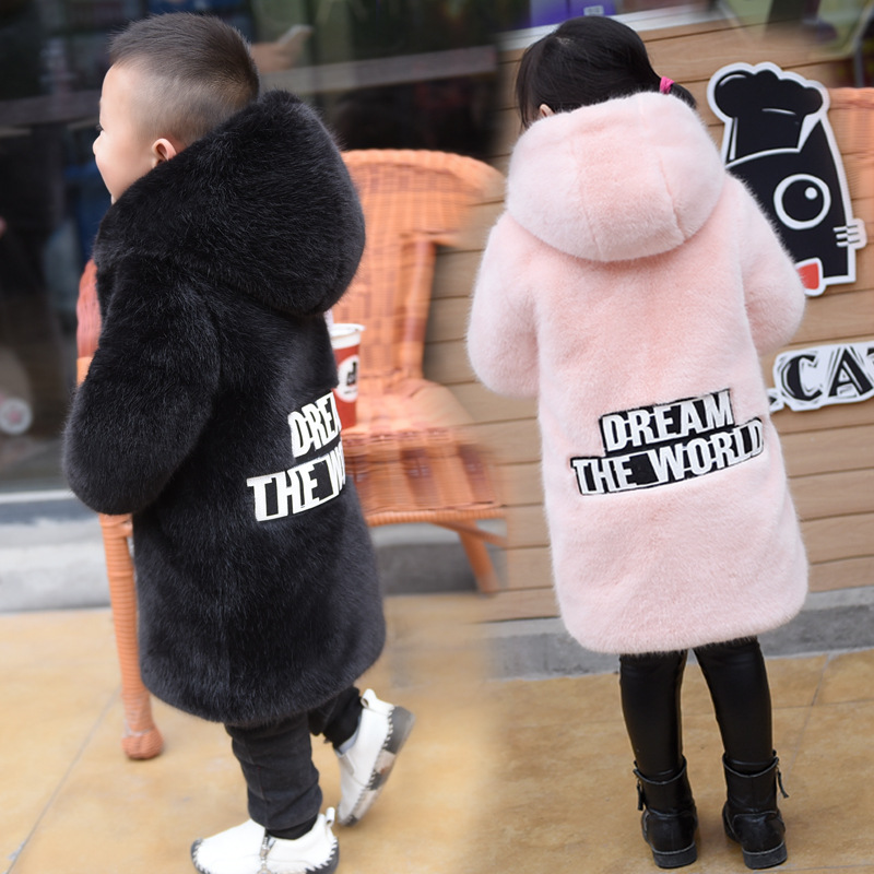 Long Girls Winter Coat And Jackets Winter Imitation Mink Fur Coat Boy And Girl Hooded Coats With A Hat Thickening Faux Fur Coat