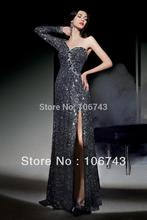 dress free shipping 2015 black gold embroider One Sleeve Grey Sequins lace Long Evening gown Wedding Party Ball Prom Dress