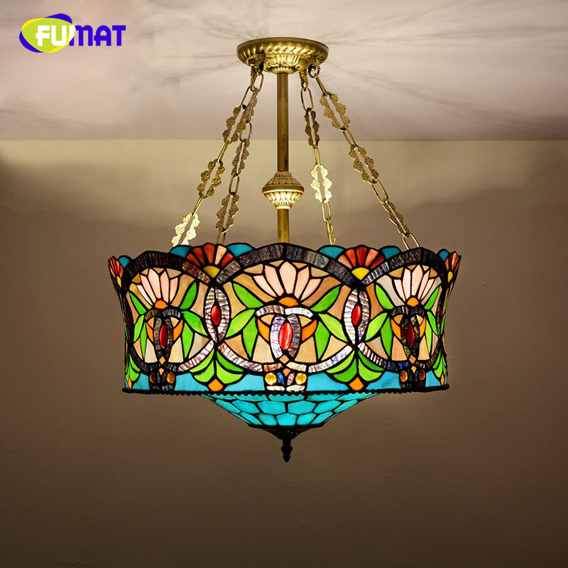FUAMT Stained Glass Pendant Lamp European Style Glass Art Lamp For Living Room BAR Restaurant Dining Room Hotel Pendnat Lights fumat stained glass pendant lamps european style baroque lights for living room bedroom creative art shade led pendant lamp