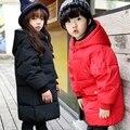 Детские пуховик Девушки длинный участок женского большой мальчик толщиной зимняя одежда