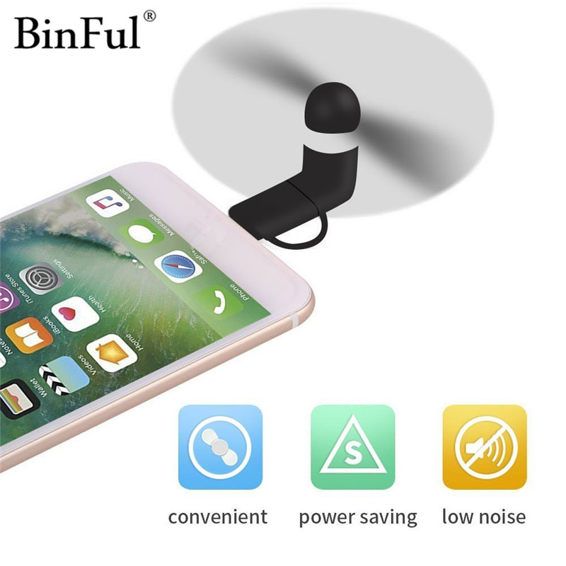 BinFul Mini Portable Cool Micro USB Fan Mobile Phone USB Gadget Fans Tester For iphone 5 5s 6 6s 7 plus 8 for Android phone ...