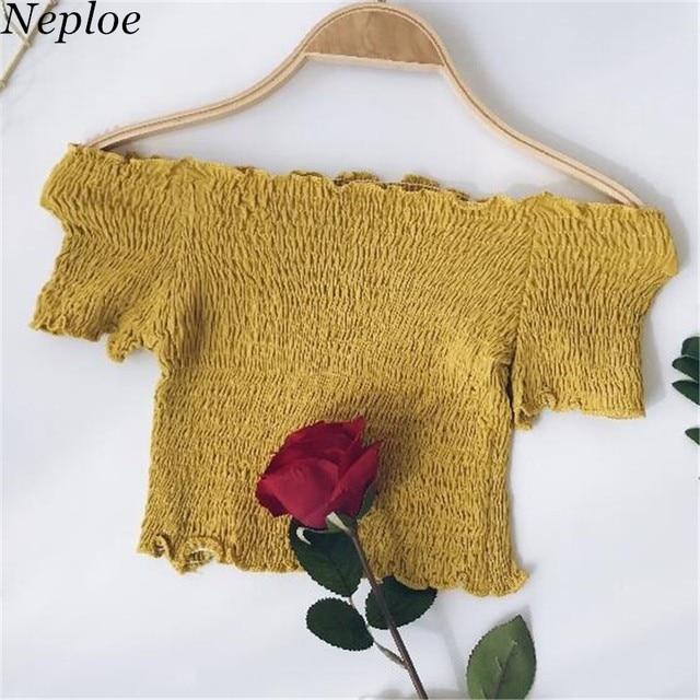 Neploe 2019 קיץ חדש נשים Slim סלאש צוואר חולצה קצר שרוול מוצק כבוי כתף קצר חולצה אופנה סקסי יבול צמרות 67408