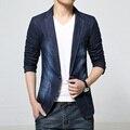 Новый 2016 темный цвет свободного покроя джинсовые пиджак мужчины мода уменьшают подходящие stonewashed и белый пиджак мужской одежды размер m-3xl / XF16