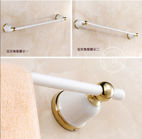 BECOLA White Bath Towel Bar Bathroom Towel Rod Single Rod Blue And White Porcelain Single Bar