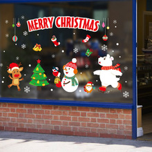 Merry Christmas Window Stickers PVC Tree Snowflakes Wall Sticker Glass Decal Mural New Year Decoration