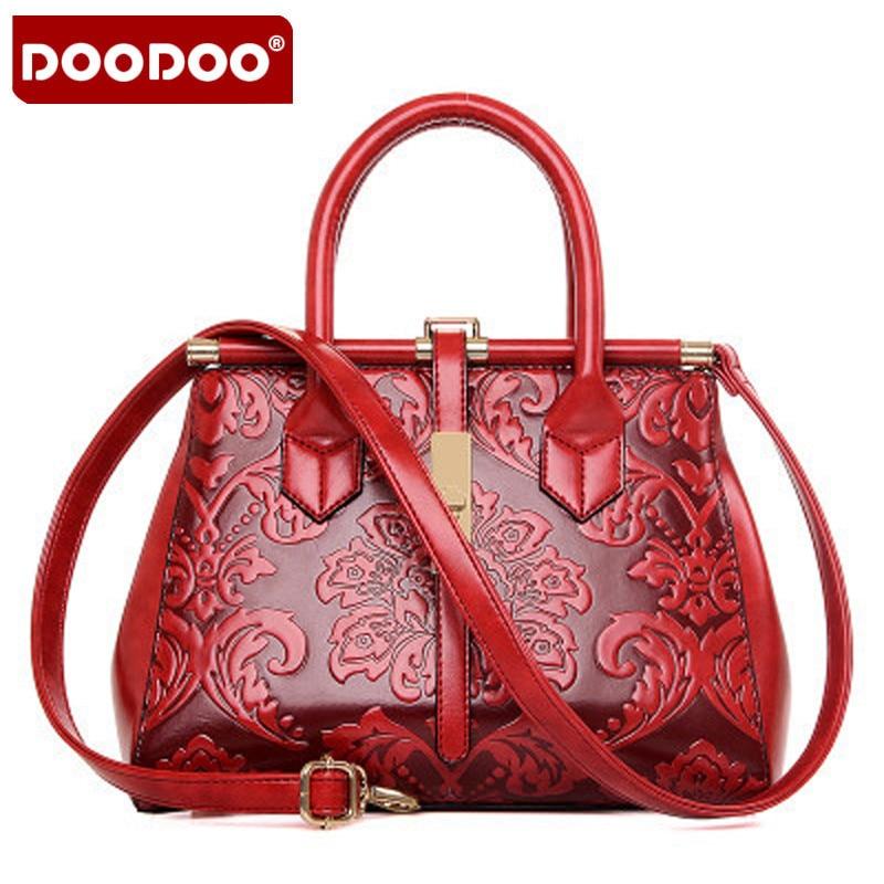 2017 Fashion Embossed Leather Women Handbag High Quality Leather Women Bag Vintage Shoulder Bag Chinese Style Ladies Hand Bag