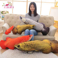 1 Pc Gold Arowana Plush Fish Cartoon Plush Toys Stuffed Animals Toys Cushion Toys For Kids Long Pillow Valentines Gifts