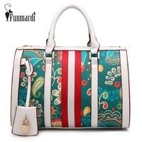 FUNMARDI Fresh style printing Pillow bags Fashion PU leather women bags brand design handbag new arrival shoulder bag WLHB1556