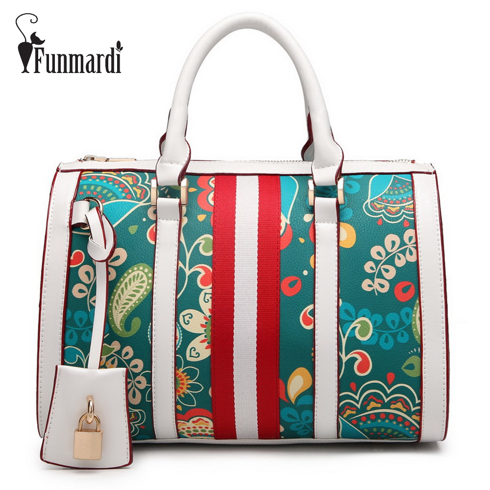 все цены на FUNMARDI Fresh style printing Pillow bags Fashion PU leather women bags brand design handbag new arrival shoulder bag WLHB1556
