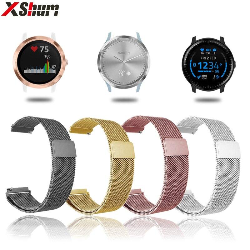 XShum 20mm Bracelet de montre en métal Bracelet magnétique pour Garmin Vivoactive3 Accessoires/Vivomove HR/Forerunner 645 Bracelet intelligent poignet