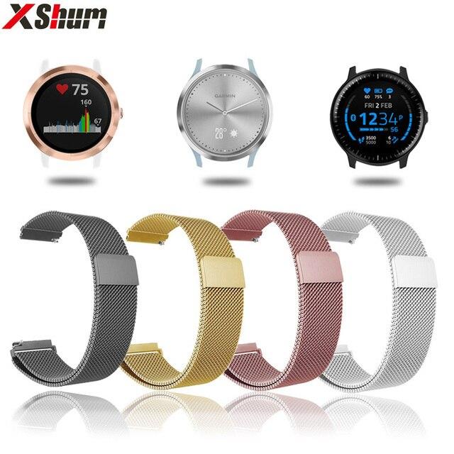 XShum 20mm Metal banda de reloj de correa magnética para Garmin Vivoactive3 accesorios/Vivomove HR/Forerunner 645 pulsera inteligente la muñeca