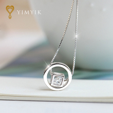 YimYik silver jewelry Imitated Crystal Box Cube Choker Statement Necklace Women Round Circle Necklace