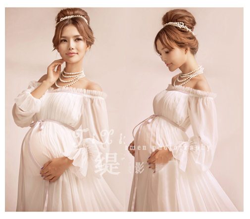 New Elegant Maternity Pregnant Women Photography Props Romantic  Shoulderless Long White Dress Photo Shoot Fancy Baby Shower Gift In Dresses  From Mother ...