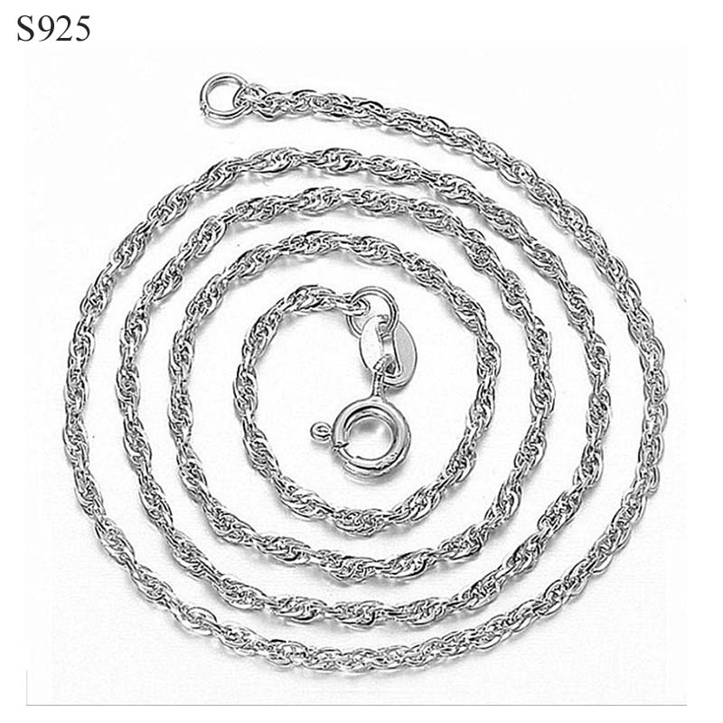 60cm Long Genuine 100% Real Pure Solid 925 Sterling Silver Necklace for Women Sweater Basic Chains Female Necklaces Fine Jewelry
