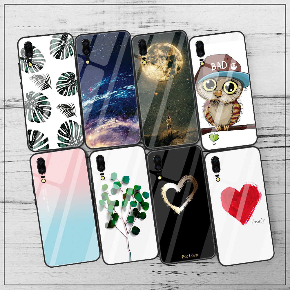 Tempered Mirror Glass Case For Huawei P20 Lite P20 Pro Nova 3 3i Painted Back Cover Owl Capa Coque Funda For Huawei Honor 8X