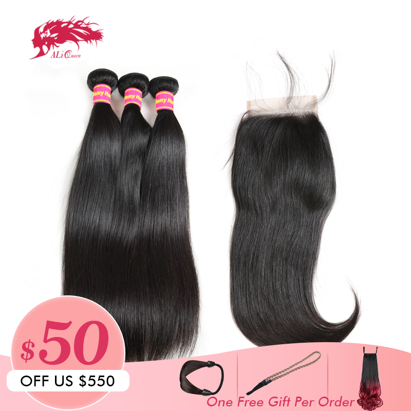 Ali Queen Hair Brazilian Straight Remy Hair 3 Bundles With Lace Closure Free/Middle Part Pre-Plucked Human Hair Lace Closure