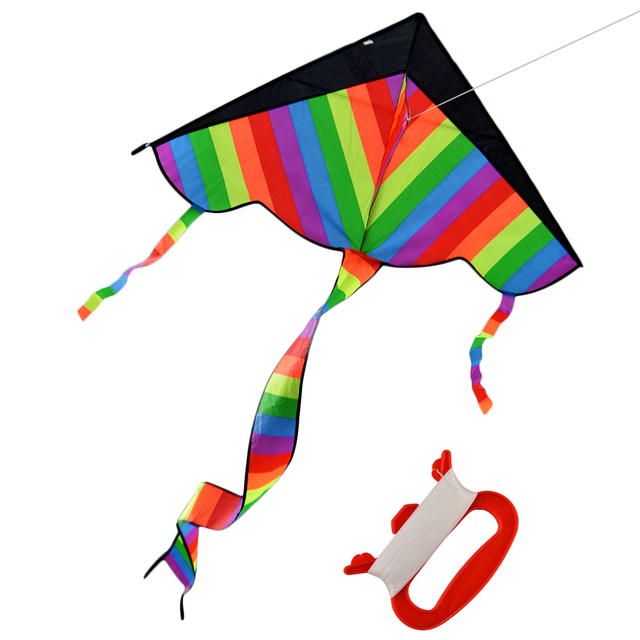 Latest Foldable Outdoor Sky Dancer Toy Kite 600D Polyester Fiberglass Triangle Flying Kite with Long Tail Toys for Kids Children