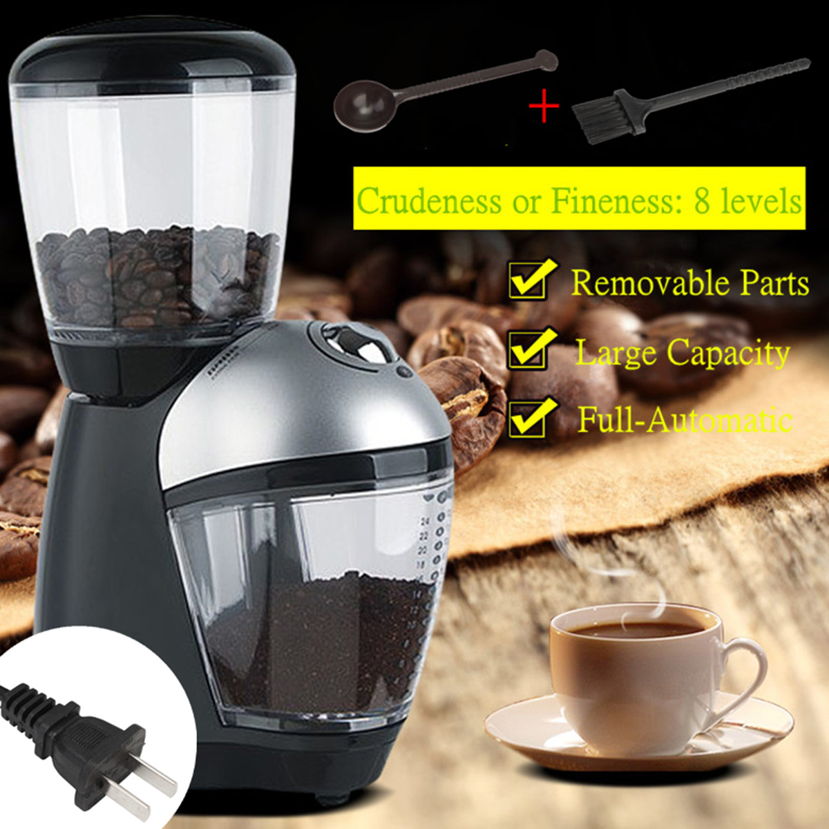 Electric Coffee Grinder Maker Small Electric Flour Mill Dry Grain Grinding Machine Mechanical Control US Plug Home Office