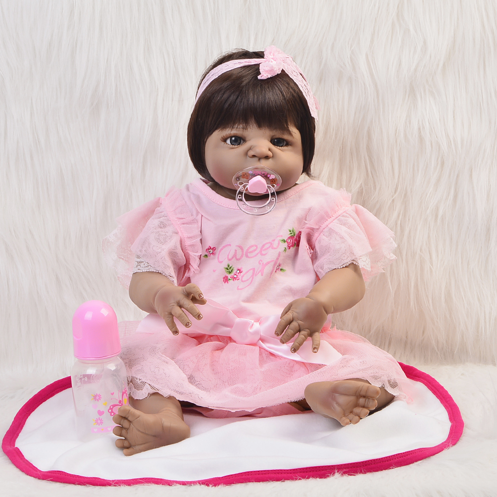 Realistic Baby Doll 23 Girl Black Skin Reborn Baby Doll Toy Full Silicone Body Handmade Ethnic Dolls For kids Xmas GiftRealistic Baby Doll 23 Girl Black Skin Reborn Baby Doll Toy Full Silicone Body Handmade Ethnic Dolls For kids Xmas Gift