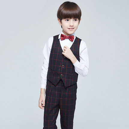 (Vest+shirt+bow tie+pant) New summer clothing sets kids Top boys Flower girl blue kids clothes children School uniforms suit штора garden на ленте цвет мультиколор высота 260 см с 4368 w191 v1