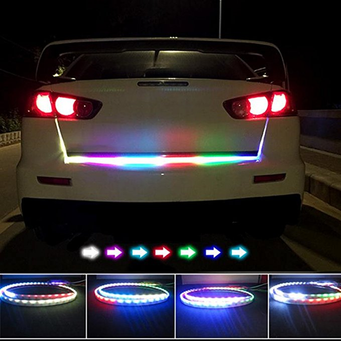 Car Styling RGB Undercarriage Floating Led Dynamic Streamer Turn Signal Tail LED Warning Lights Luggage Compartment Lights 12v