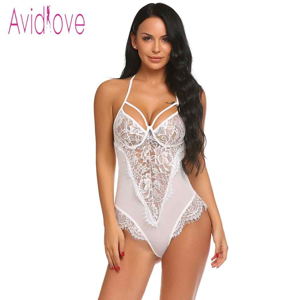 fab637beff1 ... Avidlove Women Bodystocking Sexy Costumes Lingerie Hot Erotic Bodysuit  Halter Sheer Floral Lace One Piece Teddy ...