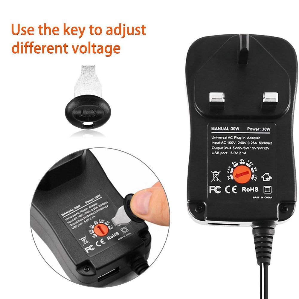 30W US/UK/AU/EU Universal Power Adapter 3V 4.5V 5V 6V 7.5V 9V 12V AC DC Charger Converter + 5V 2.1A USB Port With 8Pcs jack 3