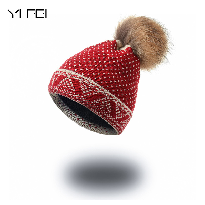 YIFEI 2017 Natural Raccoon Fur Pompon Hat Women Winter Casual Beanies Cap Knitting Hat Brand Thick Female Cap Hat Bone Feminino 18cm natural raccoon fur pompon hat thick womens winter hat caps female skullies knitted beanies new thick female cap