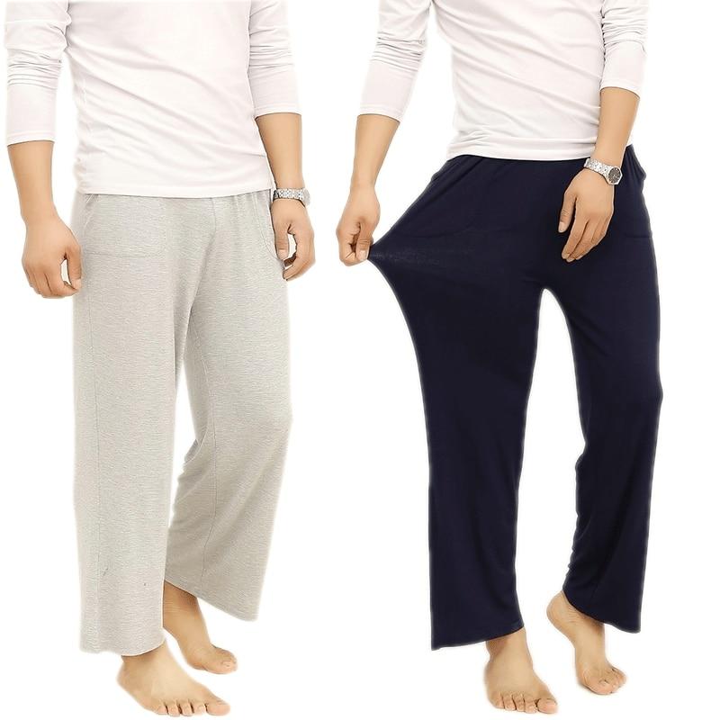 Plus Size 4XL Cotton Men Sleep Bottoms Comfort Pajama Simple Loose Sleepwear Pants Pijamas Male Sheer Pyjama Trouser Homewear