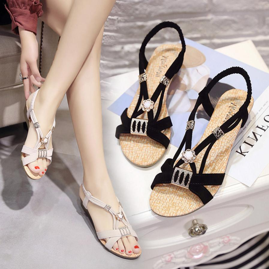 SAGACE Shoes Sandals Wedges Shoes Bohemia Beaded Leisure Lady Sandals Peep-Toe Outdoor Casual sandals summer 2018MA16 lady sandals vietnam shoes leather sandals female sandals 2017 outdoor lovers casual summer sandals
