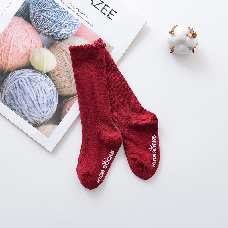 Новые детские носки гольфы с большим бантом для маленьких девочек, мягкие хлопковые кружевные детские носки kniekousen meisje, Прямая поставка#30 - Цвет: Bubble mouth red
