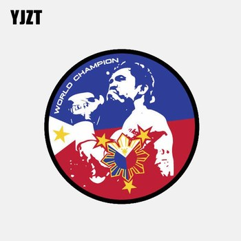 YJZT 10CM*10CM Filipino Boxer Manny WORLD CHAMPION Flag Window Car Sticker 6-2636 image