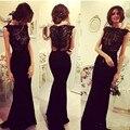 Vestido de noche Nuevo Negro Appliques Del Cordón Largo de 2017 Simple Cordón Moldeado de La Sirena de Noche Vestidos Del Partido Vestido de Noche de Gasa